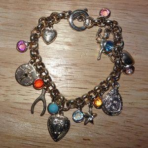 Gold Tone Heart Multi~Charm Toggle Bracelet